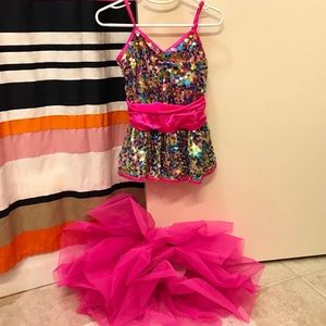 Pink & Sequin Dance Costume Outfit TuTu Skirt